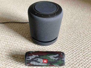Picture of an Amazon Echo Studio smart speaker with a JBL Flip 5 Bluetooth speaker. How to Reboot Echo Studio Smart Speaker.