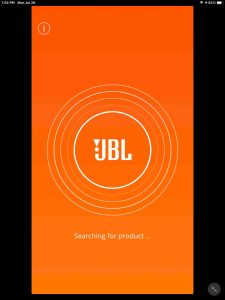 The JBL Connect app, searching for connected BT speakers page.
