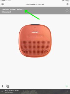 Screenshot of the Bose Connect app preparing update for SoundLink Micro speaker, at 0 percent done.