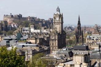 Edinburgh Skyline - the Castle, Balmoral Hotel, and Scott memorial