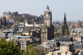 Edinburgh Skyline - the Castle, Balmoral Hotel, and Scott memorial
