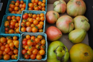 Sungold cherry and brandywine heirloom tomatoes