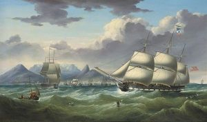 """""""Duke of Lancaster"""" and """"Royal Saxon"""" off Cape Town by Samuel Walters"""
