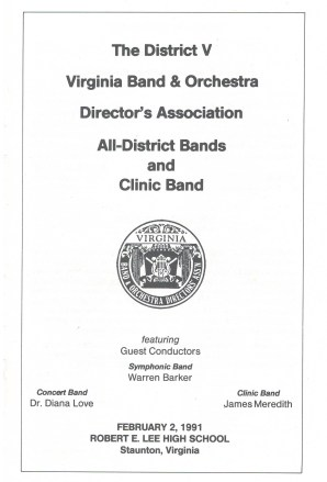 A scan of the cover of the 1991 Virginia District V Band concert program