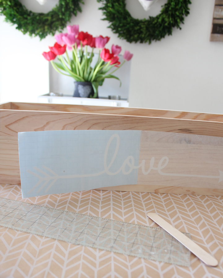 DIY Flower Box Centerpiece with Vinyl Decals for Valentine's Day, Bridal Showers, Weddings, etc.