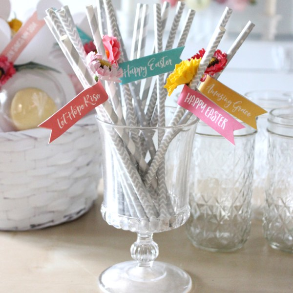 FREE Easter Flags Printable and DIY Party Straws via Tonality Designs