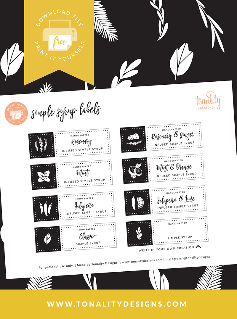 Simple Syrup Labels: Free Printable