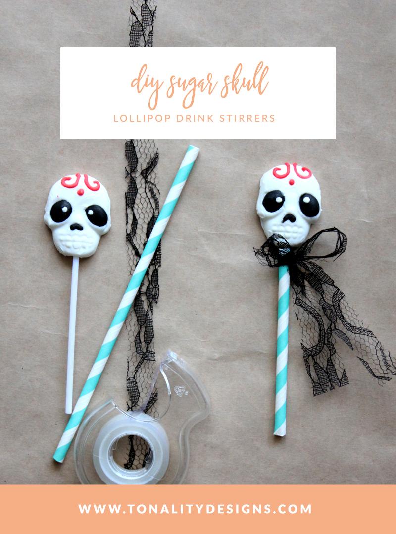 DIY Sugar Skull Lollipop Drink Stirrers