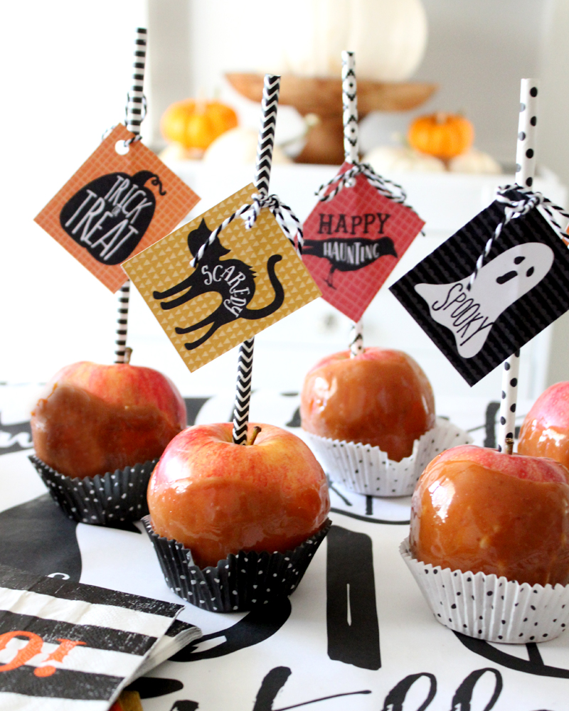 Caramel Apple Tips with Halloween Printable Tags
