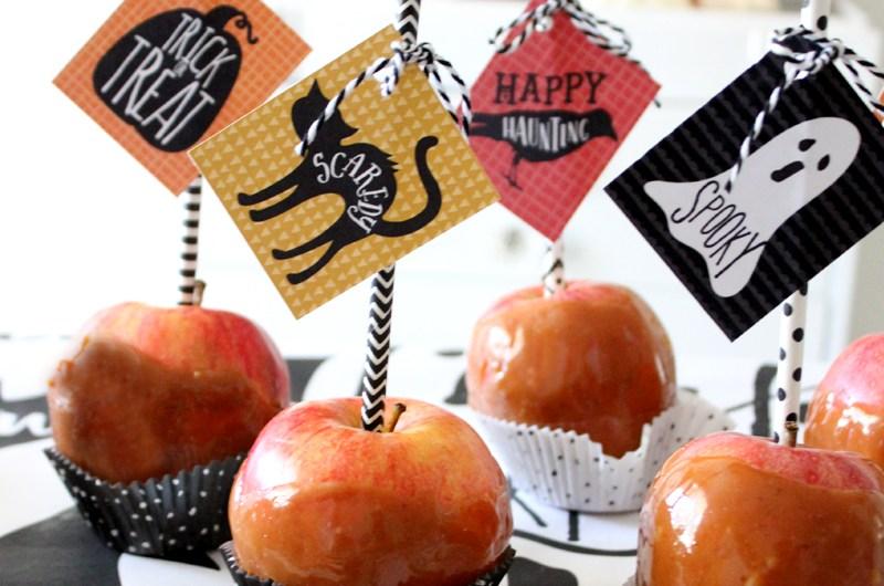 Caramel Apple Tips with Halloween Printable Tags