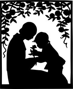 mamos su kūdikiu siluetas