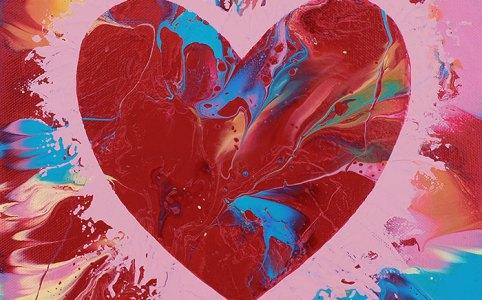 "Cassandra Tondro, ""Heart on Fire,"" original heart painting"