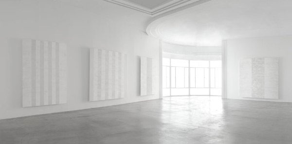 Mary Corse white-on-white painting