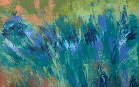 "Cassandra Tondro, ""Channeling Van Gogh, Irises,"" abstract art"