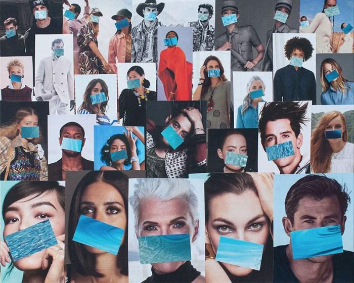 "Cassandra Tondro, ""Masquerade,"" coronavirus collage art"