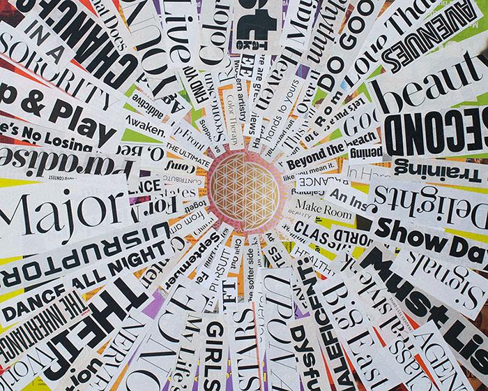 """Cassandra Tondro, """"Seismic Shift,"""" collage art"""