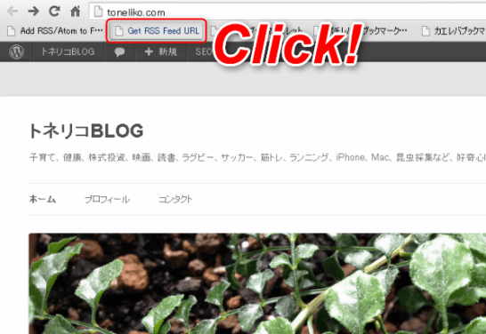 トネリコBLOGで「Add RSS/Atom to Feedly Cloud」ブックマークレットをクリックする