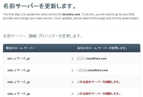 CLOUDFLARE ネームサーバー情報