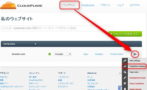 CLOUDFLARE ウェブサイト
