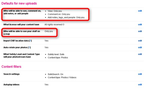 flickr 新しくアップロードした画像の設定