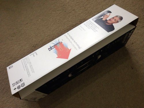 dyson AM05のパッケージは横から開封する