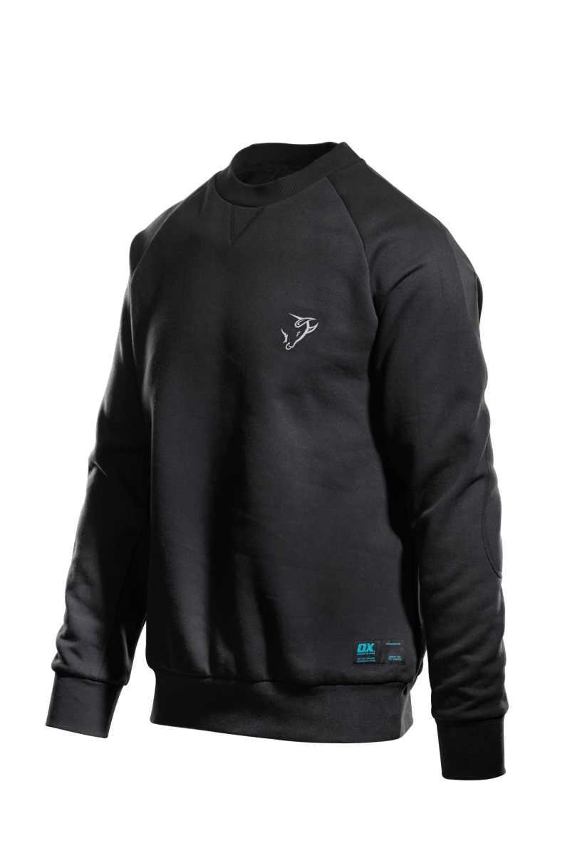 OX Crew Neck Sweatshirt - Black (Front/Side)