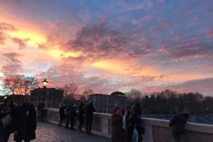 ローマ トラステヴェレの夕焼け