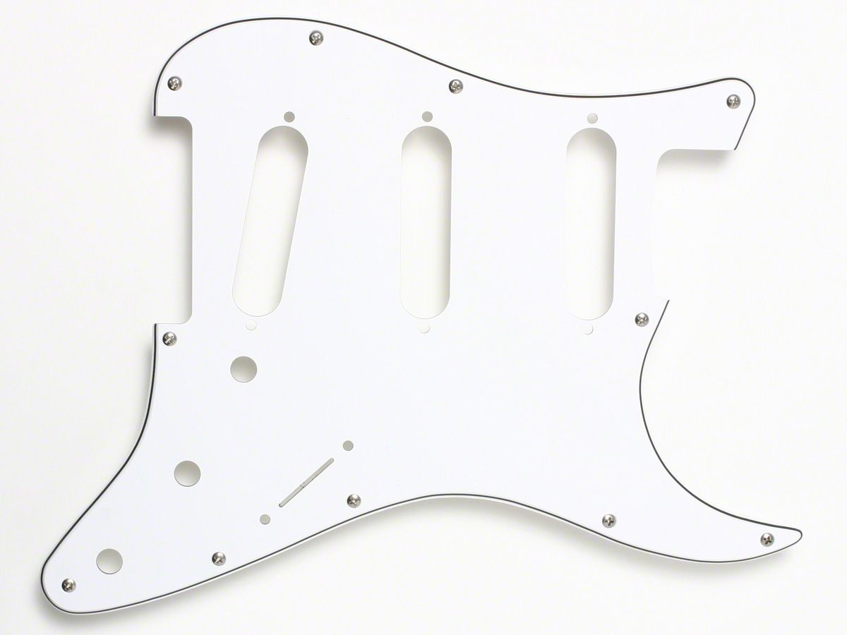 Fender Pickguard, Strat, Modern 11-Hole, 3-Ply White