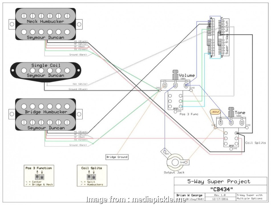 guitar wiring diagram 2 pickup 1 volume tone 1968 ford headlight switch humbucker 5 way super best diagrams 3 pickups ibanez rg