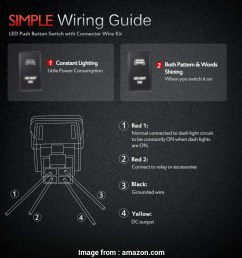 light switch wiring 1 red 2 black amazon com mictuning push button switch [ 950 x 950 Pixel ]