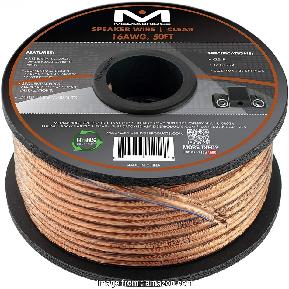hight resolution of paradigm speaker wire gauge amazon com mediabridge 16awg 2 conductor speaker wire