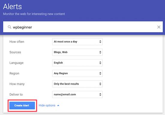 Configurar contenido robado de Google Alerts