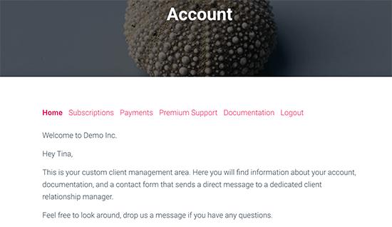 Mensaje específico del cliente en la página de la cuenta