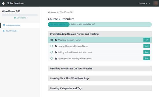 El plan de estudios del curso de MemberPress que ven los usuarios, que muestra su progresión a lo largo del curso