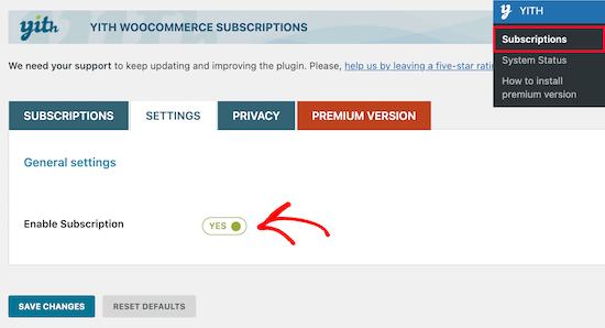 Habilite la configuración de suscripción YITH WooCommerce