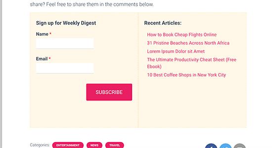 Después de las publicaciones del widget CSS corregido
