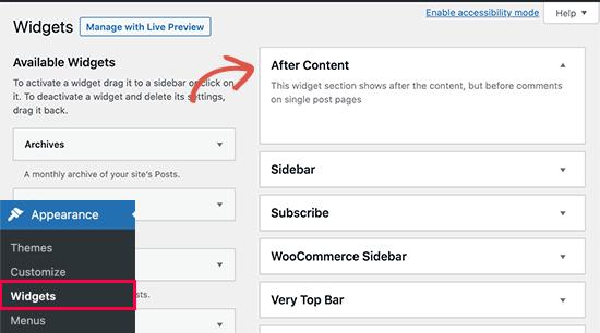 Después del área del widget de contenido