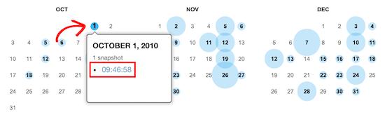 Vista de calendario de Wayback Machine
