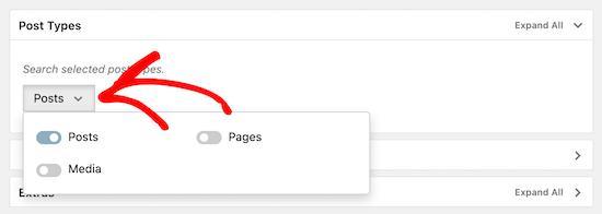 Seleccione la opción de publicación para la búsqueda de categorías
