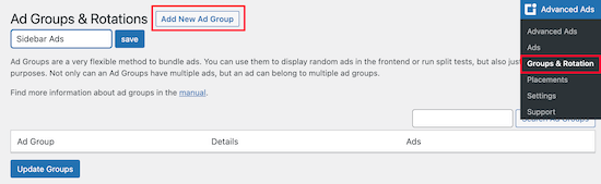 Crear nuevo grupo de anuncios