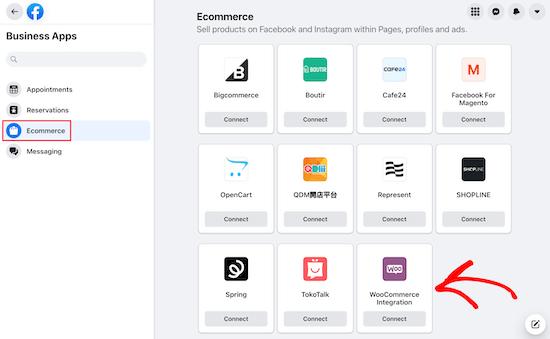Seleccionar aplicaciones comerciales Integración con WooCommerce