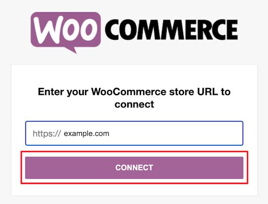 Ingrese la URL de la tienda WooCommerce