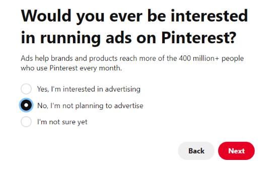 Planeando publicar anuncios de Pinterest