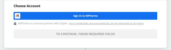 Haga clic en el botón para iniciar sesión en WPForms