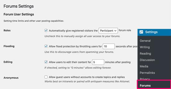 Página de configuración del foro