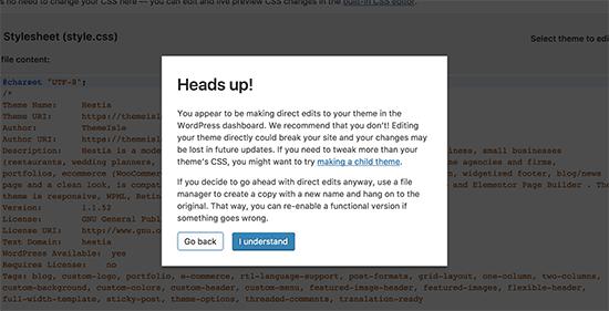 Advertencia del editor de temas en WordPress
