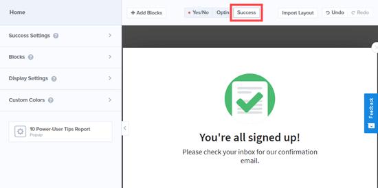 La vista 'Éxito' que los visitantes verán después de ingresar su dirección de correo electrónico