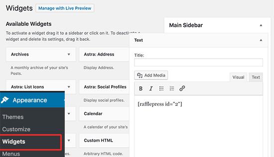 Añadiendo el shortcode a un widget de barra lateral