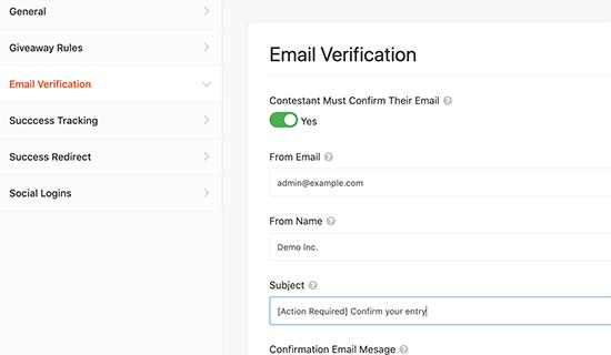 Habilitar la verificación por correo electrónico