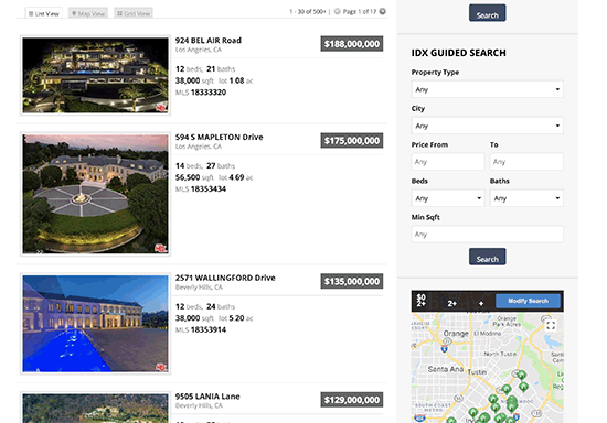 Vista previa de los listados de IDX mostrados en un sitio web de bienes raíces